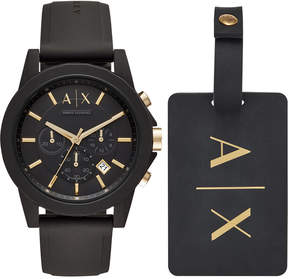 Armani Exchange Men's Chronograph Outerbanks Black Silicone Strap Watch 45mm Gift Set