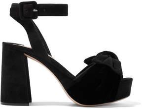 Miu Miu Velvet-trimmed Suede Platform Sandals - Black