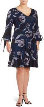 Alexia Admor Women's Plus Floral-Print Fit-&-Flare Dress - Blue Floral, Size 2x (18-20)