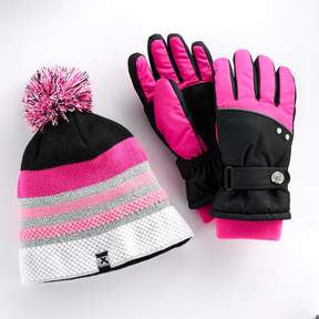 ZeroXposur Girls 4-16 Kimberly Fleece Gaiter Gloves & Fleece-Lined Hat Set