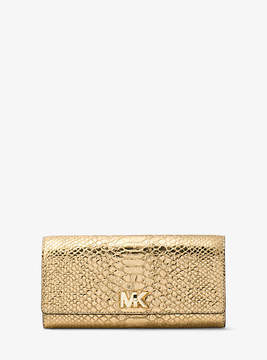 Michael Kors Mott Metallic Embossed-Leather Wallet - GOLD - STYLE