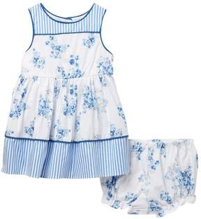 Laura Ashley Blue Floral Stripe Dress (Baby Girls 0-9M)
