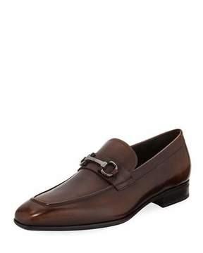 Salvatore Ferragamo Men's Gancini-Bit Leather Loafer, Brown
