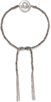 Carolina Bucci Libra Lucky Zodiac 18-karat White Gold, Diamond, Mother-of-pearl And Silk Bracelet