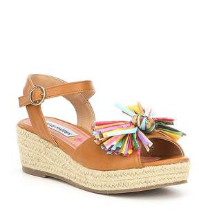 Steve Madden Girls' JStrawberi Multi Color Pom Wedge Sandals