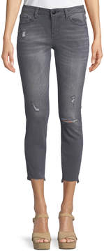 Dex Madison Low-Rise Distressed Cropped Jeans, Gray