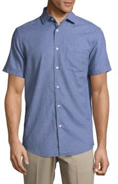 Report Collection Geometric Print Casual Button-Down Cotton Shirt