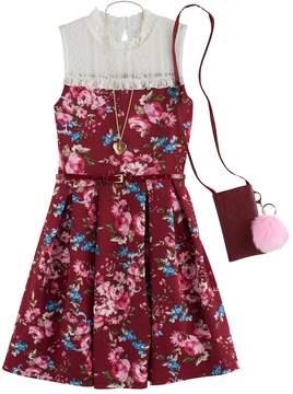 Knitworks Girls 7-16 Lace Yoke Floral Skater Dress with Crossbody Purse