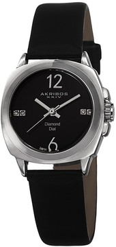 Akribos XXIV Black Dial Black Satin Ladies Watch