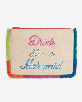 Express Linen-Blend Drink Like A Mermaid Pouch