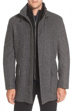Cole Haan Men's Wool Blend Car Coat With Removable Knit Bib