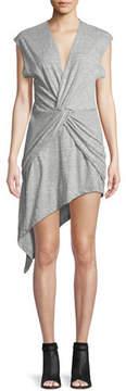 IRO Bamava V-Neck Twisted Jersey Dress with Asymmetric Hem
