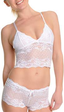 Angelina Diamond White Lace Wireless Cami Bra & Boyshorts - Women