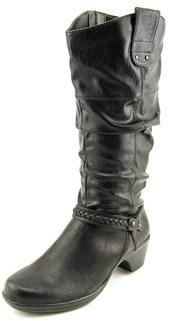 Easy Street Shoes Joya Plus Wide Calf Women W Round Toe Synthetic Black Knee High Boot.
