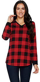 Denim & Co. Buffalo Plaid Jersey V-Neck Long Sleeve w/ Rib Trim Tunic