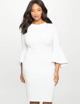 ELOQUII Flare Sleeve Scuba Dress