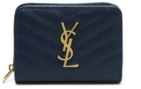 Saint Laurent Monogram Quilted Leather Wallet - Womens - Navy
