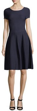 Emporio Armani Round-Neck Short-Sleeve Fit-and-Flare Knit Dress