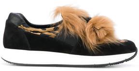 Car Shoe fur trim sneakers