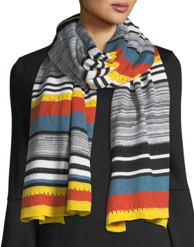 Neiman Marcus Striped Blanket Scarf