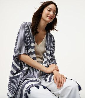 LOFT Stripe Tasseled Kimono