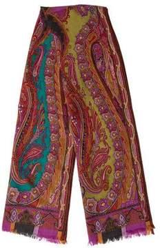 Etro Paisley Print Wool Scarf
