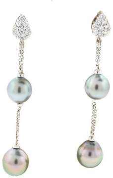 Damiani Ninfea 18K White Gold Tahitian Pearl & Diamonds Drop Earrings