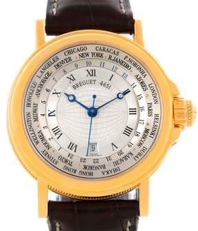 Breguet Marine Hora Mundi 3700 18K Yellow Gold & Leather Automatic 38mm Mens Watch