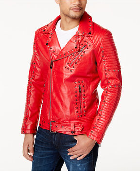 Reason Men's Red Studded Faux-Leather Moto Jacket
