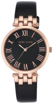 Anne Klein Rosetone Round Dial Black Leather Strap Watch