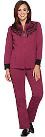 Bob Mackie Bob Mackie's Embroidered Sequin Knit Jacket &Knit Pants Set