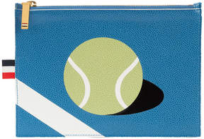 Thom Browne Large Coin Purse (20x15 Cm) With Tennis Ball Intarsia In Pebble Grain & Calf Leather