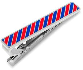 Cufflinks Inc. Varsity Stripes Crimson and Blue Tie Clip