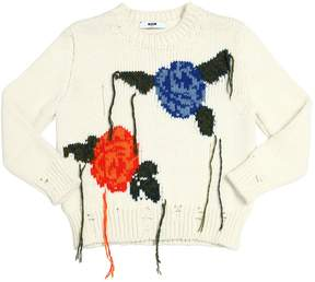 MSGM Distressed Floral Wool Blend Sweater