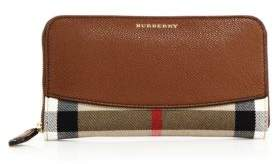 Burberry Elmore Leather & House Check Zip Wallet - TAN - STYLE