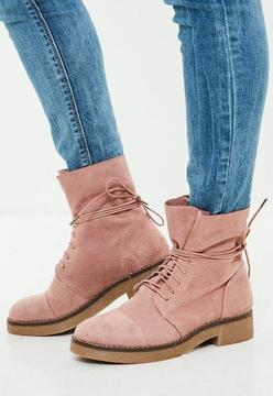 Missguided Pink Faux Suede Ankle Boots