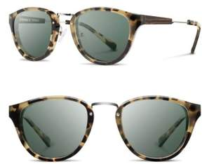 Shwood Women's 'Ainsworth' 49Mm Acetate & Wood Sunglasses - Vintage Tort/ Silver/ G15