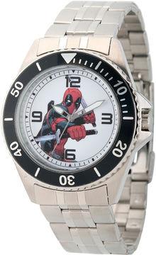 Marvel Mens Deadpool Silver-Tone Stainless Steel Bracelet Watch