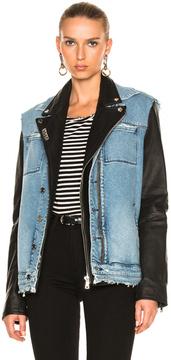 RtA Leather & Denim Detach Jacket in Blue,Black.