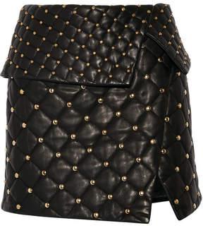 Balmain Asymmetric Studded Quilted Leather Mini Skirt - Black