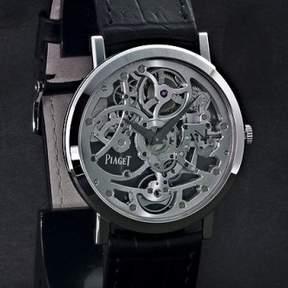 Piaget Altiplano Skeleton Dial 18K White Gold Black Alligator Automatic Men's Watch GOA37132