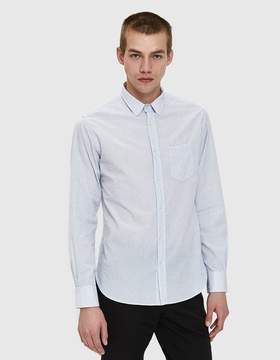 Officine Generale Textured Check Shirt in White/Blue