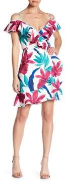 Alexia Admor Cold Shoulder Ruffle Wrap Dress