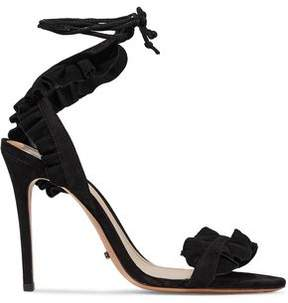Schutz Ruffled Suede Sandals