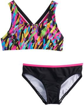 Speedo Girls 7-16 Crossback Cami Bikini Top & Bottoms Swimsuit Set