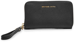 MICHAEL Michael Kors Leather Zip Around Wallet - BLACK - STYLE