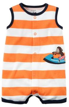 Carter's Baby Clothing Outfit Boys Snap-Front Striped Romper Monkey Orange NB