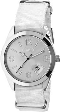 Crayo Sunrise Silver Dial White NATO Nylon Ladies Watch