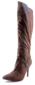 Report Signature Dynomyte Women Pointed Toe Synthetic Brown Knee High Boot.