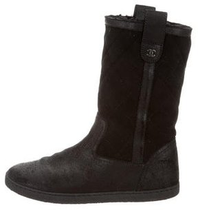 Chanel Quilted Suede Ankle Boots